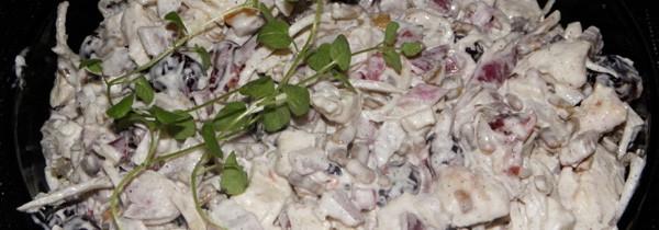 Sałatka z kurczakiem, żurawiną i selerem marynowanym